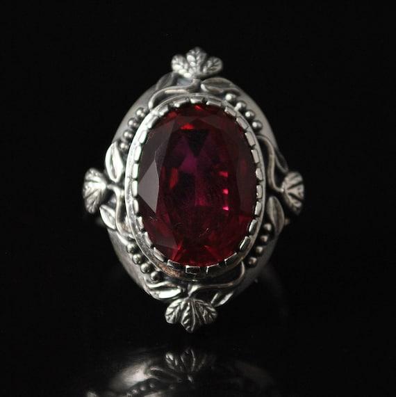 Sterling Silver Antique Style Rubilite Art Nouveau Ring Sz 7  #10138