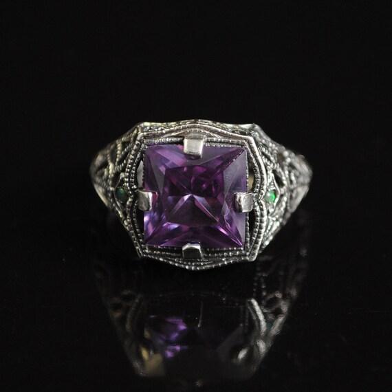 Sterling Silver Alexandrite Opal Art Deco Ring Sz 7  #11644
