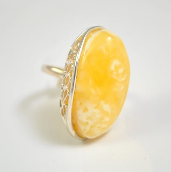 Sterling Silver Butterscotch Amber Ajustable Ring #10435