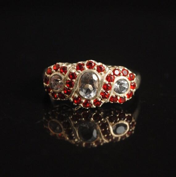 Sterling Silver Amethyst Ruby Art Deco Ring Sz 6 #5233