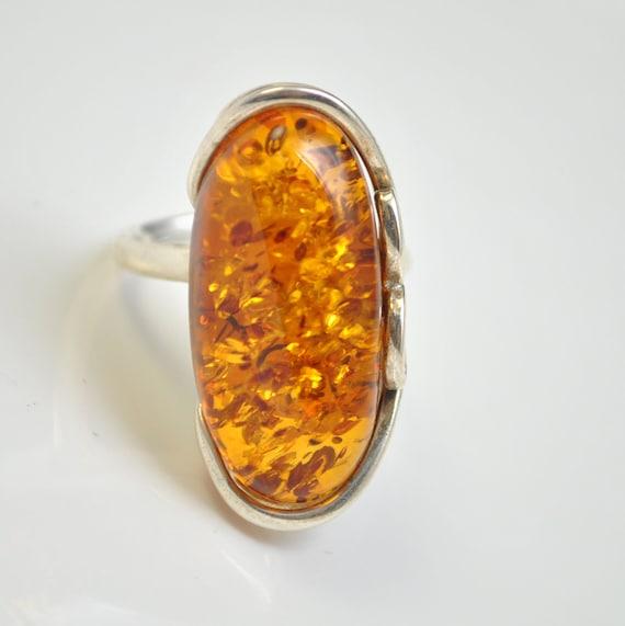 Sterling Silver Honey Amber Adjustable Ring #10443