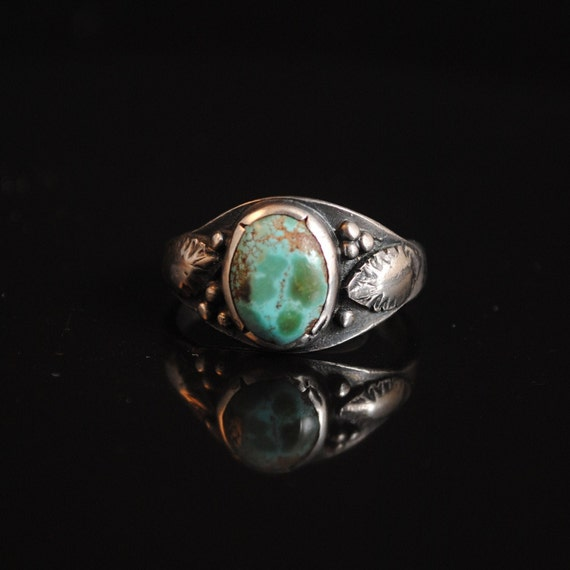 Sterling Silver Native American Turquoise Ring Sz 10.5 #13295