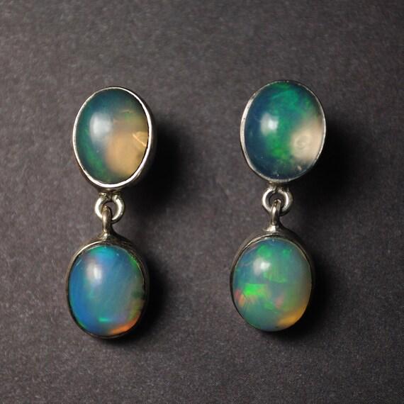 Sterling Silver Opal 4 Stone Stud Earrings #13803