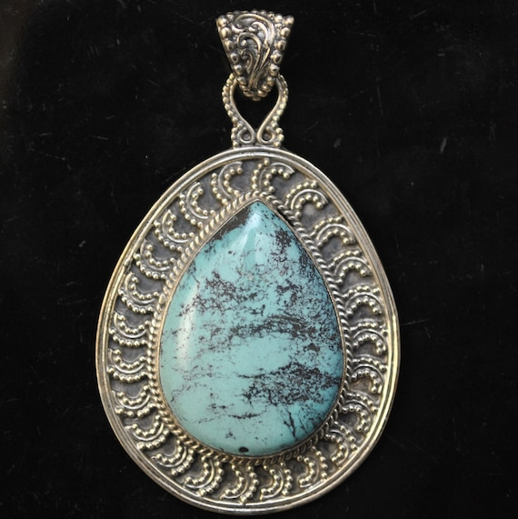 Sterling Silver Tibetan Turquoise Pendant Native American Style #9876
