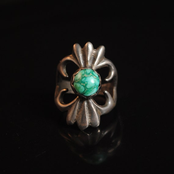 Sterling Silver Native American Navajo Sand Cast Turquoise Ring Sz 11.5 #13290