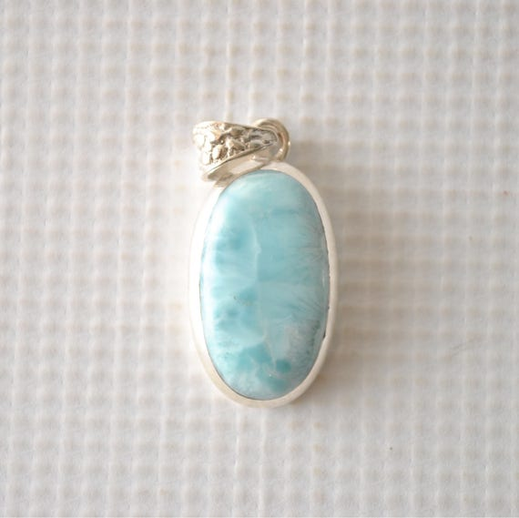 Sterling Silver Oval Larimar Pendant  #8972