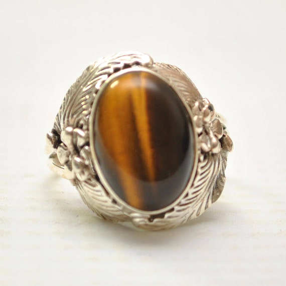 Sterling Silver Tiger Eye Ring Sz 8 #9269
