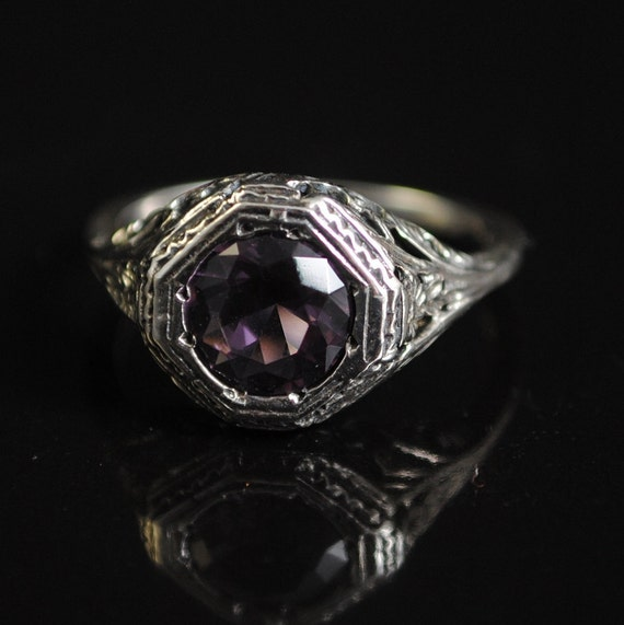 Sterling Silver Antique Style Victorian Alexandrite Ring Sz 7  #11654