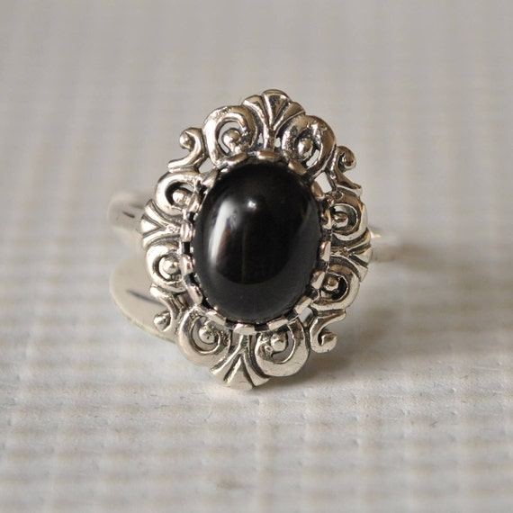 Sterling Silver Black Onyx Art Deco Ring Sz 6  #9762