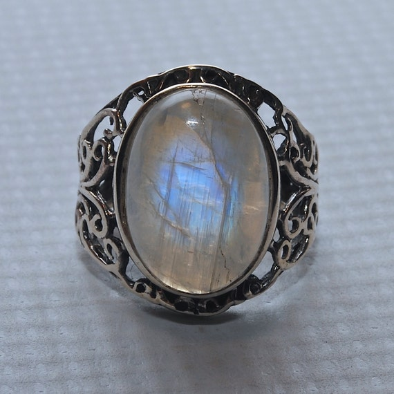 Sterling Silver Moonstone Ring Sz 8.5 #5476