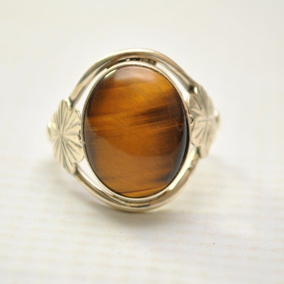 Sterling Silver Tiger Eye Ring Sz 8.5 #9259