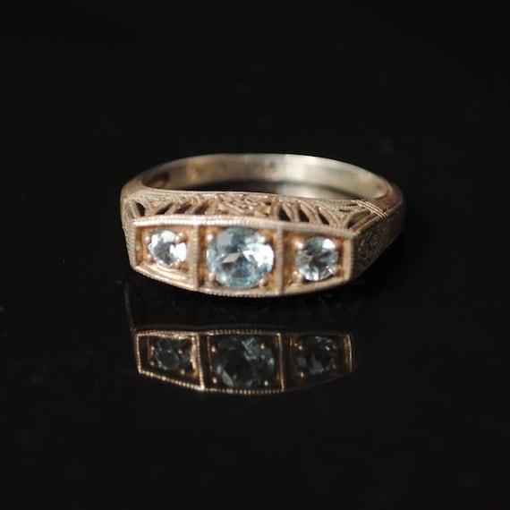 Sterling Silver Aquamarine Peridot Art Deco Ring Sz 6  #8551