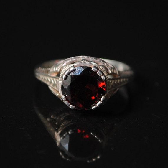 Sterling Silver Garnet Art Deco Ring Sz 6 #6778