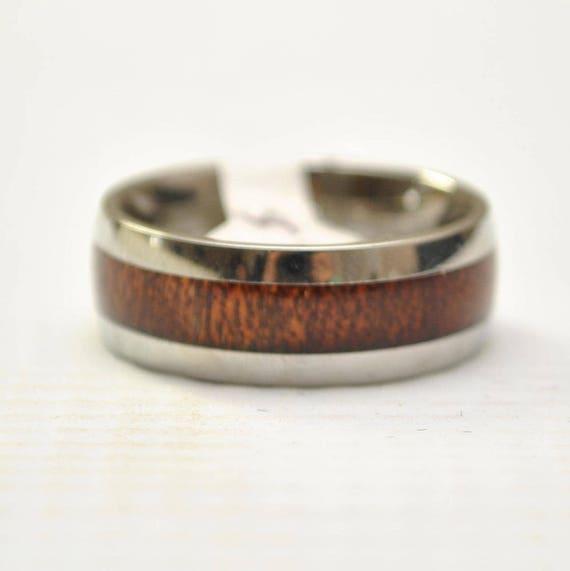 Hawaiian Koa Wood Narrow Inlay Band in Stainless Steel Ring Sz 8 #8272