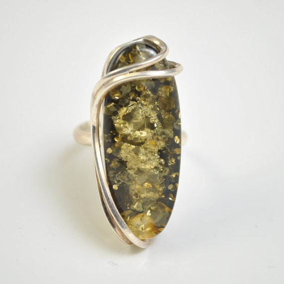 Sterling Silver Green Amber Adjustable Ring #10446