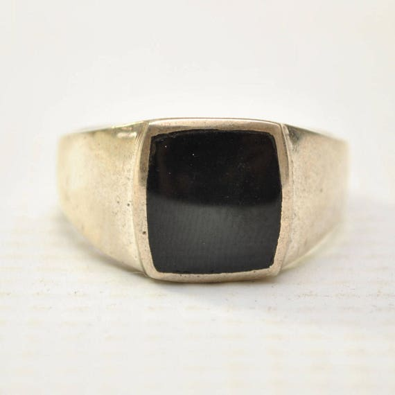 Onyx Large Square Stone in Plain Sterling Silver Ring Sz 11 #8763
