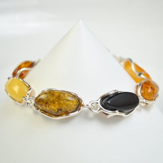 Sterling Silver Multi Color Amber Bracelet #10456