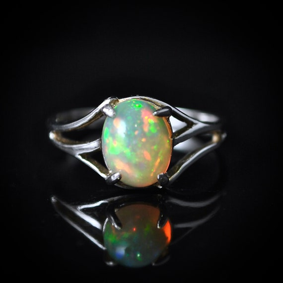 Sterling Silver Opal  Ring Sz 6  #10023
