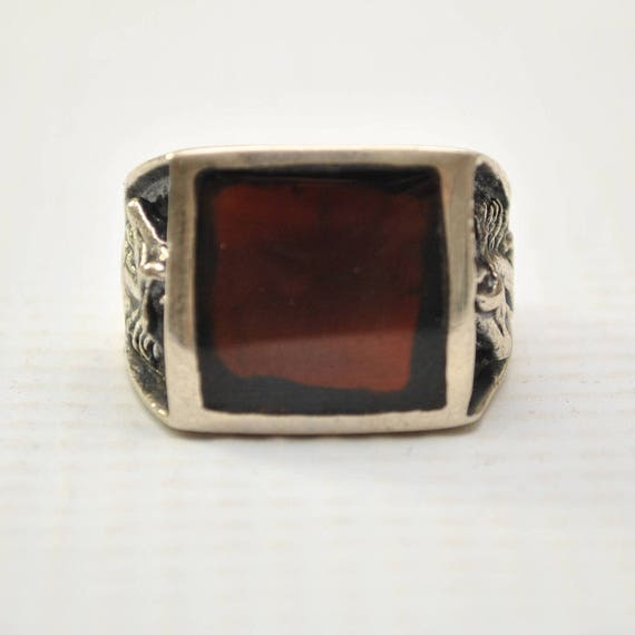 Onyx Square Stone in Horse Head Sterling Silver Ring Sz 12 #8750