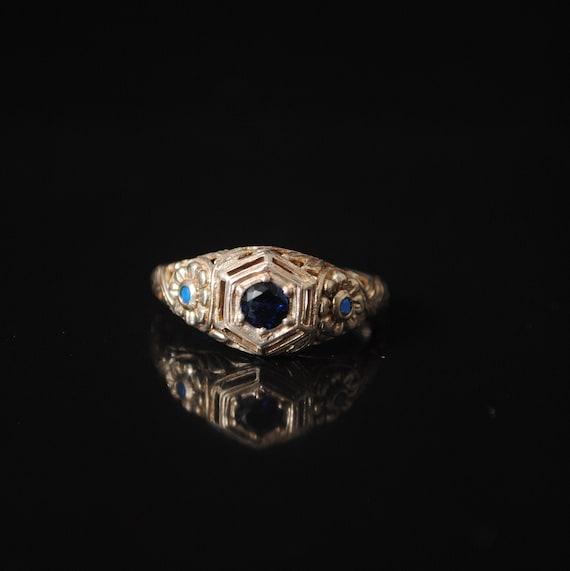 Sterling Silver Blue Sapphire Opal Art Deco Ring Sz 6 #12397
