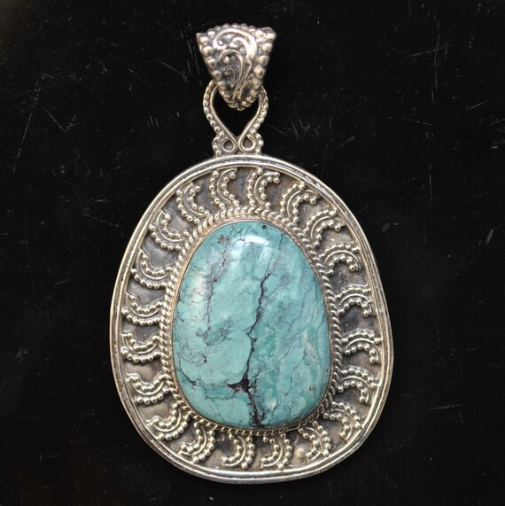 Sterling Silver Tibetan Turquoise Pendant Native American Style #9871