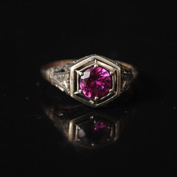 Sterling Silver Pink Sapphire Art Deco Ring Sz 7 #12352