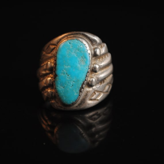 Sterling Silver Native American Navajo Turquoise Ring Sz 11.5 #13282
