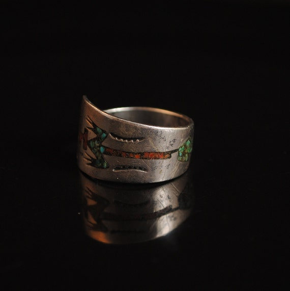 Sterling Silver Native American Navajo Zuni Inlay Turquoise Coral Ring Sz 11.5 #13278