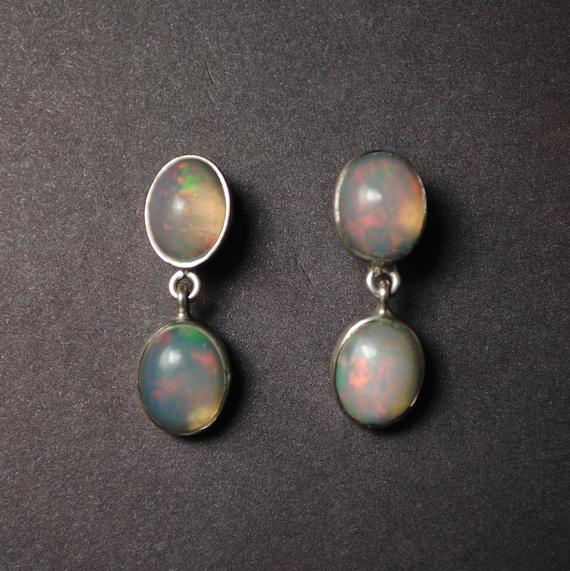 Sterling Silver Opal 4 Stone Stud Earrings #13801