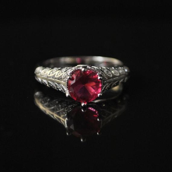 Sterling Silver Ruby White Topaz Ring Sz 8 #10282
