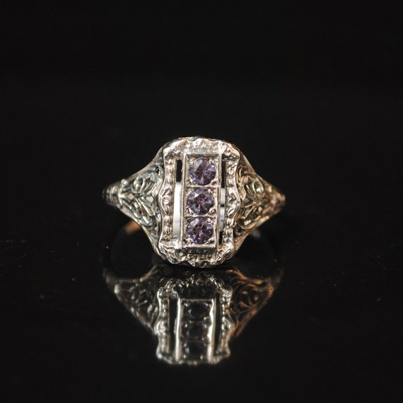 Sterling Silver Amethyst  Art Deco Ring Sz 7 #13338