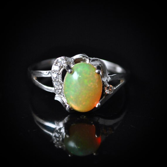Sterling Silver Opal  Ring Sz 7.5  #10016