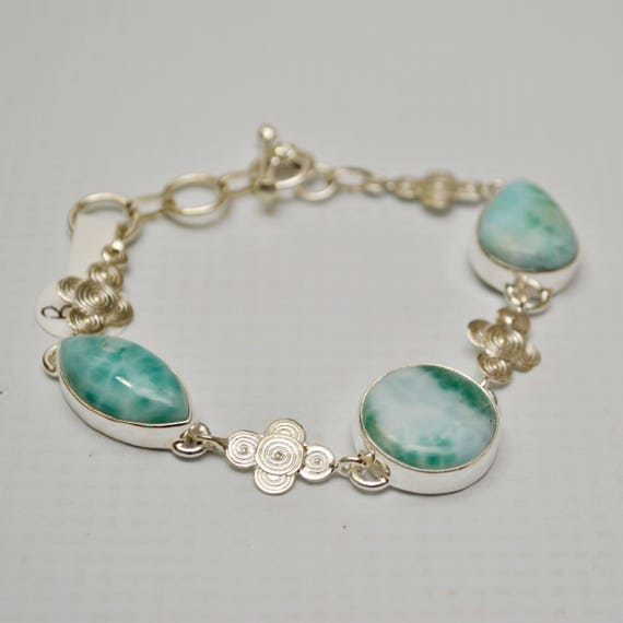 Sterling Silver Three Stone Larimar with Design Bracelet #7151