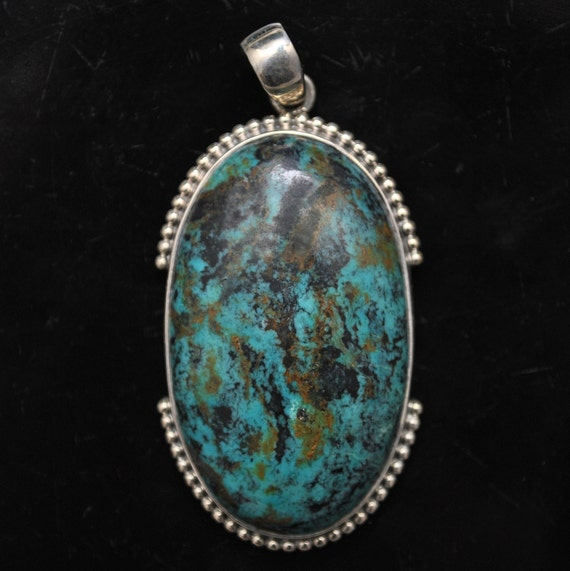 Sterling Silver Tibetan Turquoise Pendant Native American Style #9870