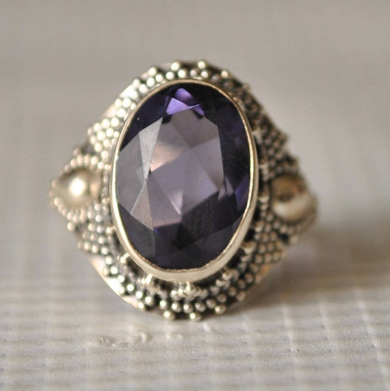 Sterling Silver Amethyst Ring Sz 7.25  #9848