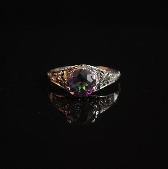 Sterling Silver Rainbow Topaz Art Deco Ring Sz 9  #13298
