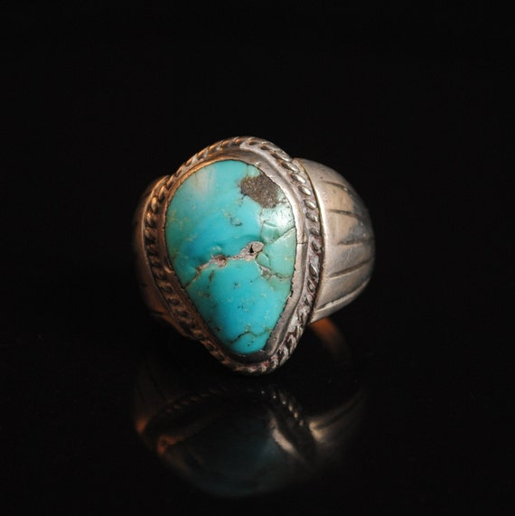Sterling Silver Native American Navajo Turquoise Ring Sz 10 #13276