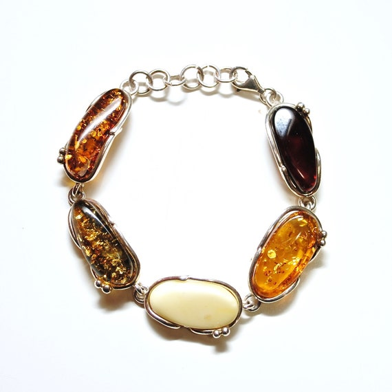 Sterling Silver Multi Color Amber Bracelet #10791