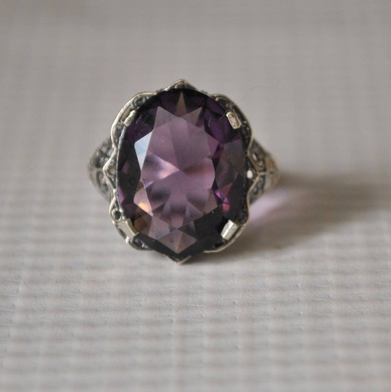 Sterling Silver Amethyst Art Deco Ring Sz 6  #9817