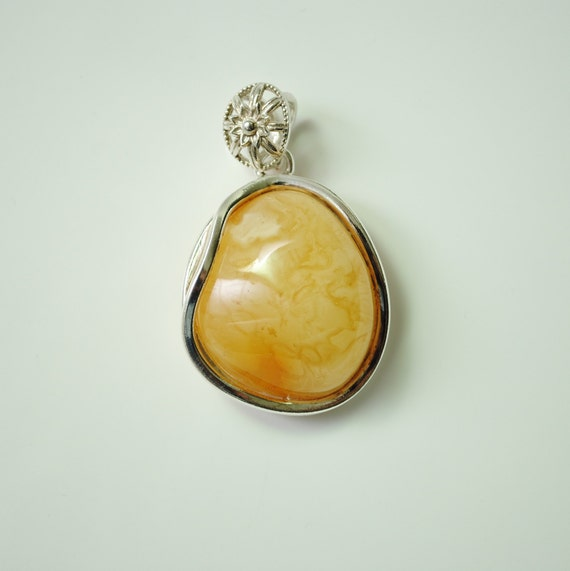 Sterling Silver Butterscotch Amber Pendant #11903