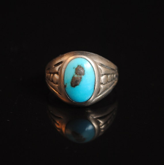 Sterling Silver Native American Turquoise Ring Sz 10.5 #13293