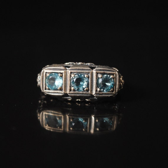 Sterling Silver Victorian Aquamarine Ring Sz 6 #12393