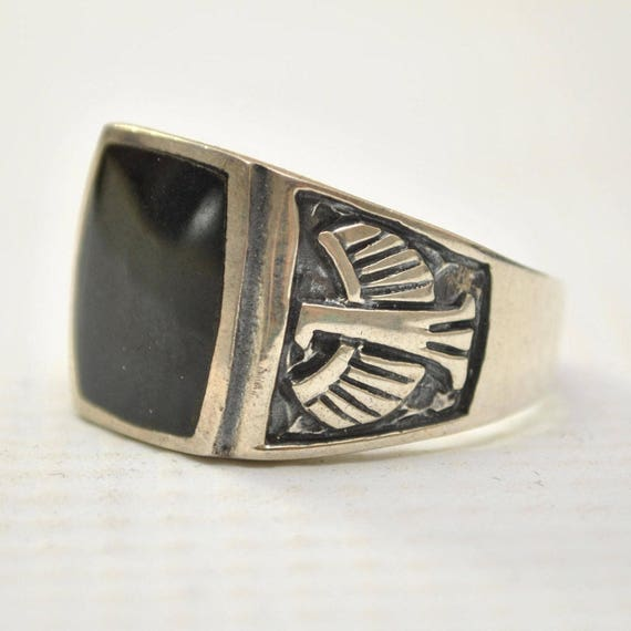 Onyx Curved Square Phoenix Bird in Sterling Silver Ring Sz 12 #12873