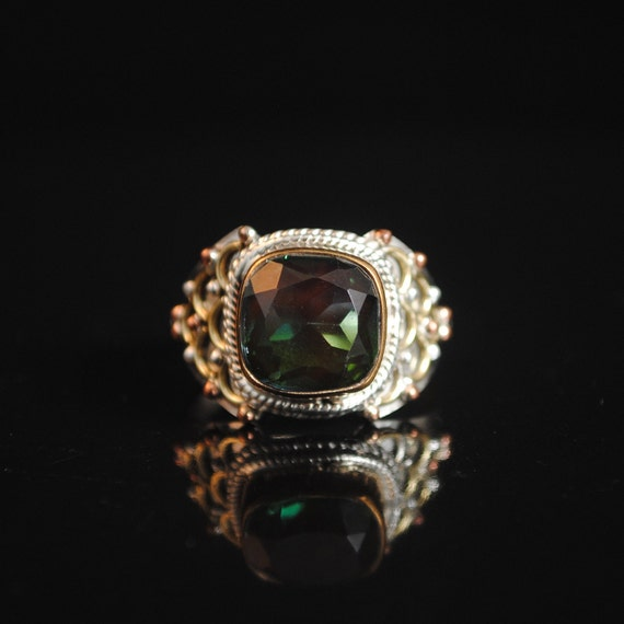 Sterling Silver Bi-Color Tourmaline Ring Sz 7 #13314