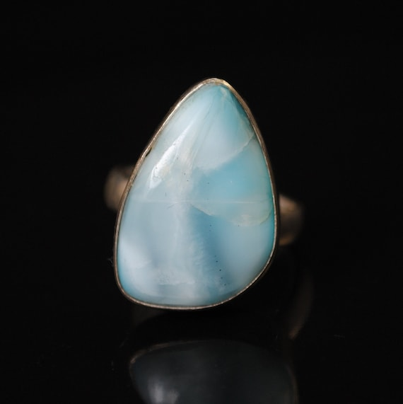 Sterling Silver Larimar Ring Sz 8  #11124