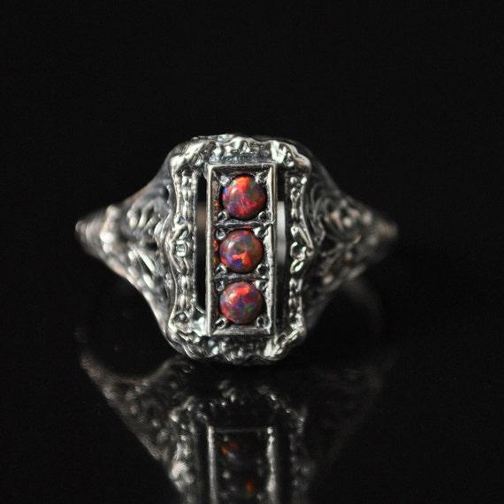 Sterling Silver Red Fire Opal Art Deco Ring Sz 8  #10217