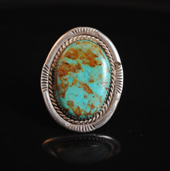 Sterling Silver Native American Navajo Turquoise Ring Sz 10.5 #13269