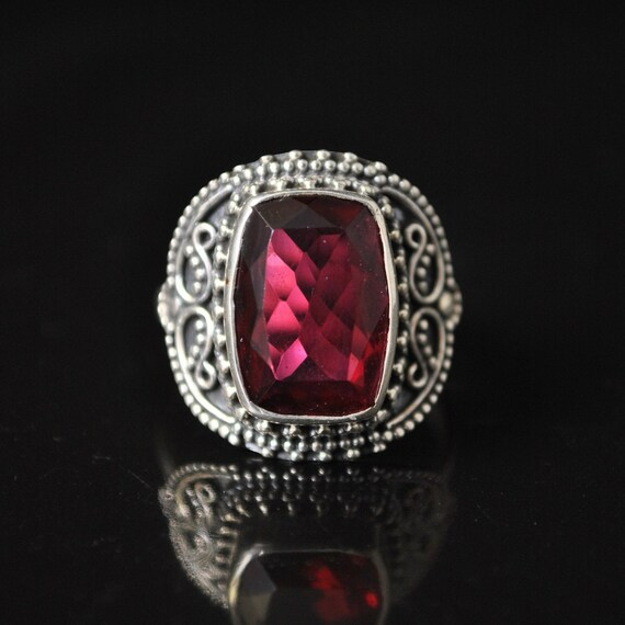 Sterling Silver Rubellite Tourmaline Ring Sz 8 #11418