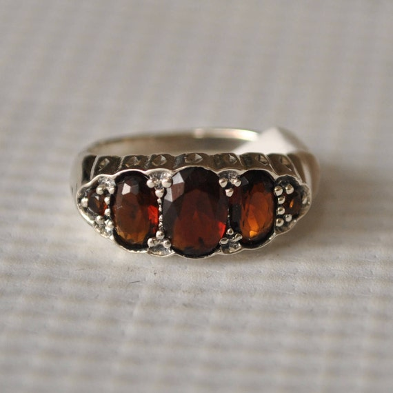 Sterling Silver Garnet Art Deco Ring Sz 6 #9747