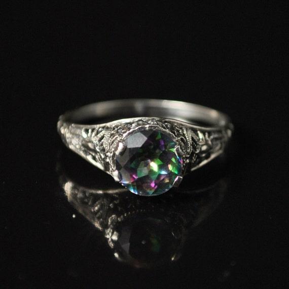 Sterling Silver Rainbow Topaz Art Deco Ring Sz 9  #10151